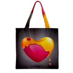Valentine Heart Having Transparency Effect Pink Yellow Grocery Tote Bag