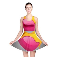 Valentine Heart Having Transparency Effect Pink Yellow Reversible Skater Dress