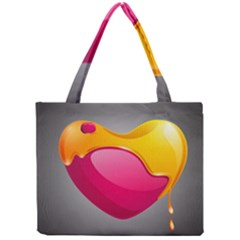 Valentine Heart Having Transparency Effect Pink Yellow Mini Tote Bag by Alisyart