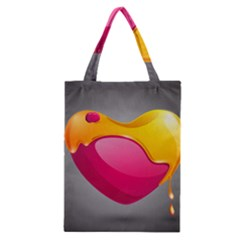 Valentine Heart Having Transparency Effect Pink Yellow Classic Tote Bag by Alisyart