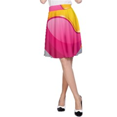 Valentine Heart Having Transparency Effect Pink Yellow A-line Skirt