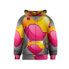 Valentine Heart Having Transparency Effect Pink Yellow Kids  Zipper Hoodie
