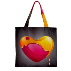 Valentine Heart Having Transparency Effect Pink Yellow Zipper Grocery Tote Bag