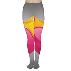 Valentine Heart Having Transparency Effect Pink Yellow Women s Tights