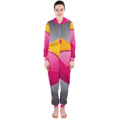 Valentine Heart Having Transparency Effect Pink Yellow Hooded Jumpsuit (ladies)