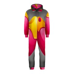 Valentine Heart Having Transparency Effect Pink Yellow Hooded Jumpsuit (kids)