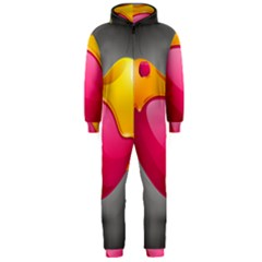 Valentine Heart Having Transparency Effect Pink Yellow Hooded Jumpsuit (men)