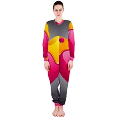 Valentine Heart Having Transparency Effect Pink Yellow Onepiece Jumpsuit (ladies)
