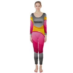 Valentine Heart Having Transparency Effect Pink Yellow Long Sleeve Catsuit