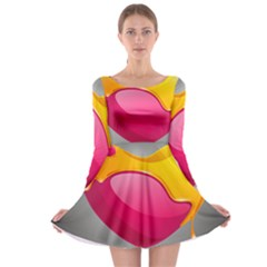 Valentine Heart Having Transparency Effect Pink Yellow Long Sleeve Skater Dress
