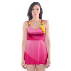 Valentine Heart Having Transparency Effect Pink Yellow Skater Dress Swimsuit