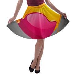 Valentine Heart Having Transparency Effect Pink Yellow A Line Skater Skirt