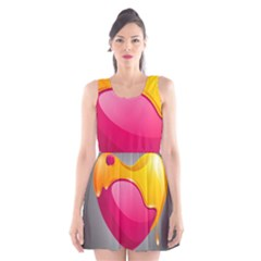 Valentine Heart Having Transparency Effect Pink Yellow Scoop Neck Skater Dress