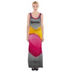 Valentine Heart Having Transparency Effect Pink Yellow Maxi Thigh Split Dress