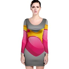 Valentine Heart Having Transparency Effect Pink Yellow Long Sleeve Velvet Bodycon Dress