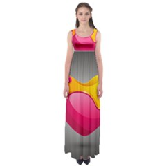 Valentine Heart Having Transparency Effect Pink Yellow Empire Waist Maxi Dress
