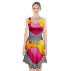 Valentine Heart Having Transparency Effect Pink Yellow Racerback Midi Dress