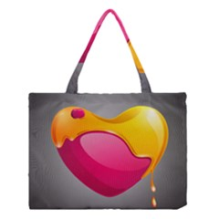 Valentine Heart Having Transparency Effect Pink Yellow Medium Tote Bag