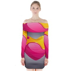 Valentine Heart Having Transparency Effect Pink Yellow Long Sleeve Off Shoulder Dress