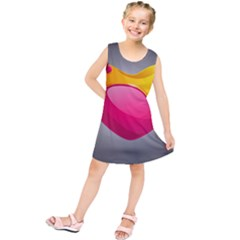 Valentine Heart Having Transparency Effect Pink Yellow Kids  Tunic Dress