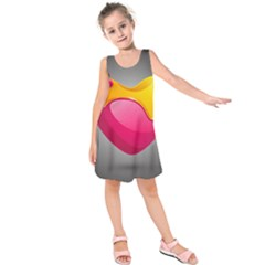 Valentine Heart Having Transparency Effect Pink Yellow Kids  Sleeveless Dress
