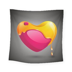 Valentine Heart Having Transparency Effect Pink Yellow Square Tapestry (small)