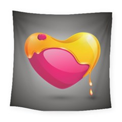 Valentine Heart Having Transparency Effect Pink Yellow Square Tapestry (large)