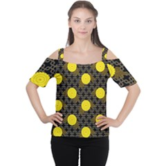 Sunflower Yellow Women s Cutout Shoulder Tee