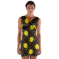 Sunflower Yellow Wrap Front Bodycon Dress