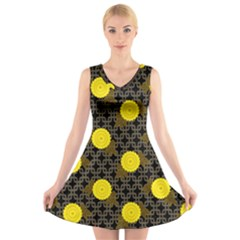 Sunflower Yellow V Neck Sleeveless Skater Dress