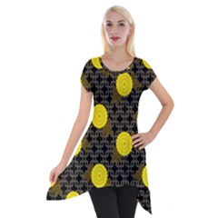 Sunflower Yellow Short Sleeve Side Drop Tunic