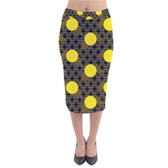 Sunflower Yellow Velvet Midi Pencil Skirt