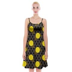 Sunflower Yellow Spaghetti Strap Velvet Dress