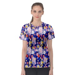 Season Flower Arrangements Purple Women s Sport Mesh Tee