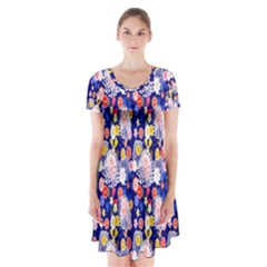 Season Flower Arrangements Purple Short Sleeve V Neck Flare Dress