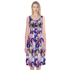 Season Flower Arrangements Purple Midi Sleeveless Dress
