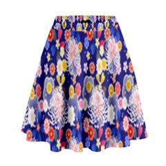Season Flower Arrangements Purple High Waist Skirt