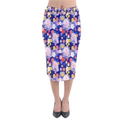 Season Flower Arrangements Purple Velvet Midi Pencil Skirt