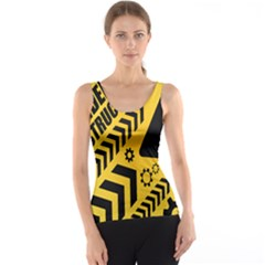 Under Construction Line Maintenen Progres Yellow Sign Tank Top