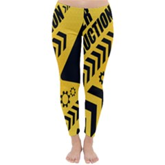 Under Construction Line Maintenen Progres Yellow Sign Classic Winter Leggings