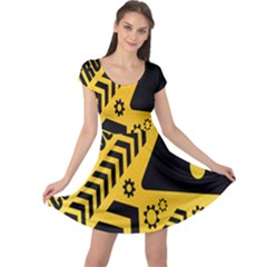 Under Construction Line Maintenen Progres Yellow Sign Cap Sleeve Dresses