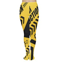 Under Construction Line Maintenen Progres Yellow Sign Women s Tights