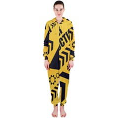 Under Construction Line Maintenen Progres Yellow Sign Hooded Jumpsuit (ladies)