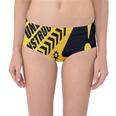 Under Construction Line Maintenen Progres Yellow Sign Mid Waist Bikini Bottoms