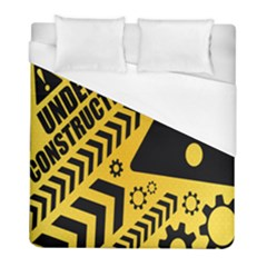 Under Construction Line Maintenen Progres Yellow Sign Duvet Cover (full/ Double Size) by Alisyart