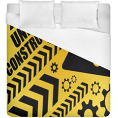 Under Construction Line Maintenen Progres Yellow Sign Duvet Cover (king Size)