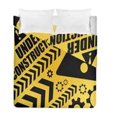Under Construction Line Maintenen Progres Yellow Sign Duvet Cover Double Side (full/ Double Size) by Alisyart