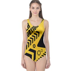Under Construction Line Maintenen Progres Yellow Sign One Piece Swimsuit