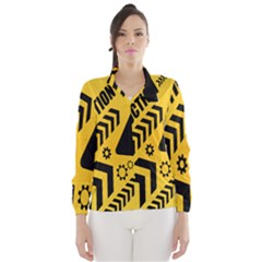 Under Construction Line Maintenen Progres Yellow Sign Wind Breaker (women)