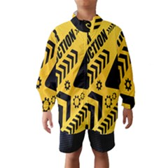 Under Construction Line Maintenen Progres Yellow Sign Wind Breaker (kids)